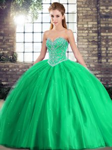 Ball Gowns Sleeveless Green Ball Gown Prom Dress Brush Train Lace Up