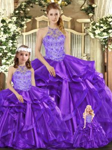 Custom Fit Floor Length Ball Gowns Sleeveless Purple 15 Quinceanera Dress Lace Up