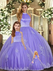 Lavender Halter Top Neckline Beading and Appliques Sweet 16 Dress Sleeveless Backless