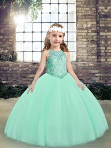 Sleeveless Lace Up Floor Length Beading Little Girls Pageant Dress Wholesale