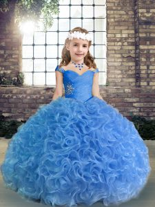 Blue Fabric With Rolling Flowers Lace Up Pageant Dress Toddler Sleeveless Floor Length Beading and Ruching