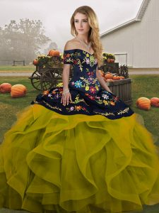 Ball Gowns Sweet 16 Dresses Olive Green Off The Shoulder Tulle Sleeveless Floor Length Lace Up