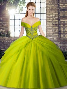 Off The Shoulder Sleeveless Quinceanera Dresses Brush Train Beading and Pick Ups Olive Green Tulle