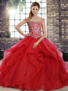 Sleeveless Beading and Ruffles Lace Up Quinceanera Gowns with Red Brush Train