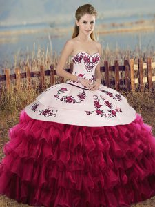 Best Selling White And Red Sleeveless Organza Lace Up Quinceanera Gowns for Military Ball and Sweet 16 and Quinceanera