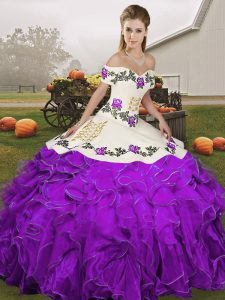 On Sale Floor Length Lace Up Sweet 16 Dress White And Purple for Military Ball and Sweet 16 and Quinceanera with Embroidery and Ruffles