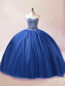 Blue Sleeveless Floor Length Beading Lace Up Quinceanera Gowns