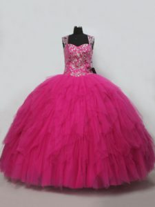 Straps Sleeveless Tulle Ball Gown Prom Dress Beading and Ruffles Lace Up