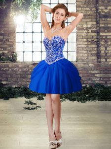 Luxurious Beading Red Carpet Gowns Royal Blue Lace Up Sleeveless Mini Length