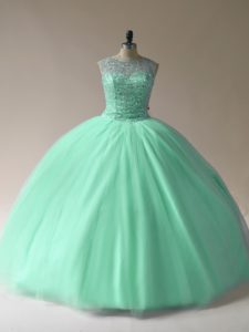 Apple Green Sleeveless Beading Floor Length Quinceanera Gown