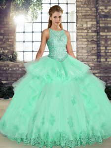 Stunning Apple Green Tulle Lace Up Scoop Sleeveless Floor Length Quinceanera Gowns Lace and Embroidery and Ruffles