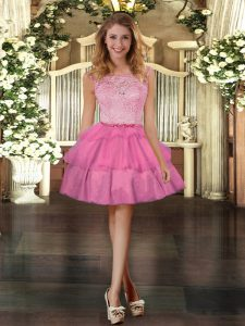 Rose Pink Sleeveless Tulle Zipper Prom Party Dress for Prom and Party