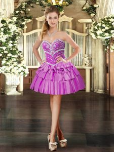 Lilac Taffeta Lace Up Prom Party Dress Sleeveless Mini Length Beading