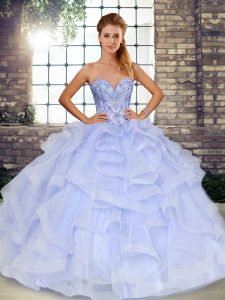 Designer Floor Length Lace Up Quince Ball Gowns Lavender for Military Ball and Sweet 16 and Quinceanera with Beading and Ruffles