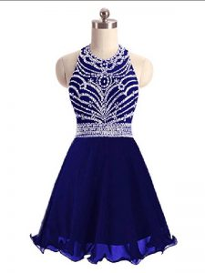 Elegant Blue Halter Top Lace Up Beading Sleeveless