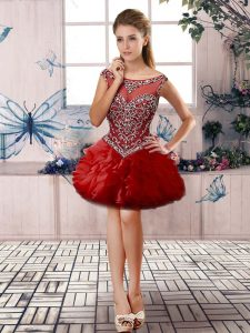 Red Organza Zipper Cocktail Dress Sleeveless Mini Length Beading and Ruffles