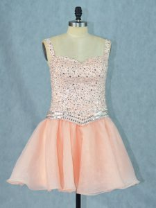 Designer Organza Straps Sleeveless Lace Up Beading Cocktail Dresses in Peach