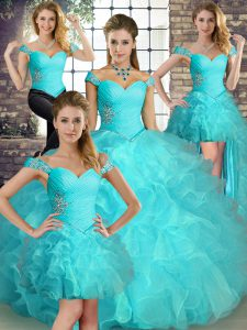 Super Aqua Blue Lace Up Off The Shoulder Beading and Ruffles Quinceanera Gown Organza Sleeveless