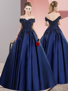 Navy Blue A-line Off The Shoulder Sleeveless Satin Floor Length Zipper Lace Vestidos de Quinceanera