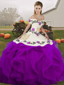 Embroidery and Ruffles Sweet 16 Dresses White And Purple Lace Up Sleeveless Floor Length