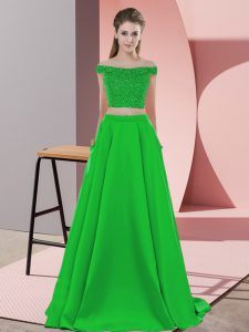 Low Price Green Two Pieces Elastic Woven Satin Off The Shoulder Sleeveless Beading Backless Prom Party Dress Sweep Train