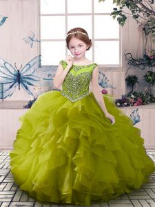 Stunning Olive Green Sleeveless Organza Zipper Pageant Dress Wholesale for Party and Sweet 16 and Wedding Party