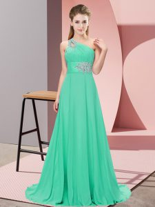 Pretty Beading Celebrity Style Dress Apple Green Lace Up Sleeveless Floor Length