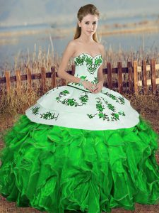 Fantastic Green Ball Gowns Sweetheart Sleeveless Organza Floor Length Lace Up Embroidery and Ruffles and Bowknot Quinceanera Gowns