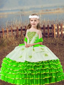 Ball Gowns Straps Sleeveless Organza Floor Length Lace Up Beading and Embroidery and Ruffled Layers Winning Pageant Gowns