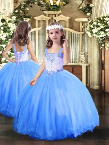 Baby Blue Sleeveless Floor Length Beading Lace Up Pageant Dress for Womens