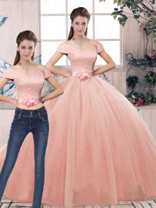 Attractive Pink Tulle Lace Up 15 Quinceanera Dress Short Sleeves Floor Length Lace and Hand Made Flower
