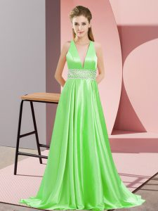 Empire Elastic Woven Satin V-neck Sleeveless Beading Backless Brush Train