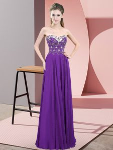 Deluxe Purple Sleeveless Floor Length Beading Zipper Prom Dresses
