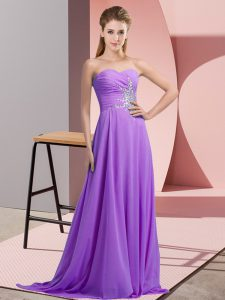 Lavender Prom Evening Gown Prom and Party and Military Ball with Beading and Ruching Sweetheart Sleeveless