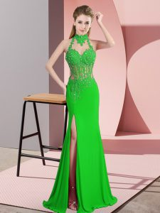 Green Column/Sheath Chiffon Halter Top Sleeveless Lace and Appliques Floor Length Backless