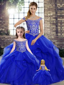 Fabulous Lace Up 15 Quinceanera Dress Royal Blue for Military Ball and Sweet 16 and Quinceanera with Beading and Ruffles Brush Train