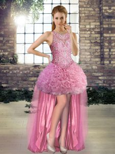 Trendy Rose Pink Sleeveless Fabric With Rolling Flowers Lace Up Prom Party Dress for Prom and Party