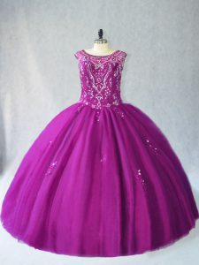 Custom Made Purple Tulle Lace Up Quinceanera Dresses Sleeveless Floor Length Beading