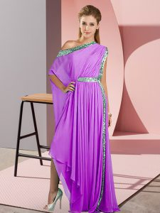 Lavender Chiffon Side Zipper Homecoming Dress Sleeveless Asymmetrical Sequins