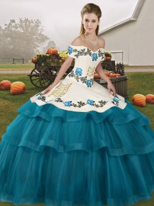 Teal Ball Gowns Embroidery and Ruffled Layers 15 Quinceanera Dress Lace Up Tulle Sleeveless