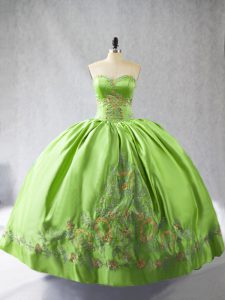 Noble Sweetheart Sleeveless 15th Birthday Dress Floor Length Embroidery Satin