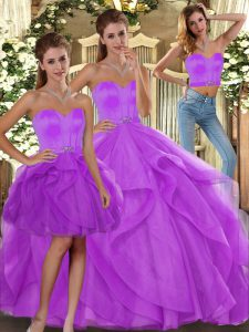 Hot Sale Lilac Tulle Lace Up Sweetheart Sleeveless Floor Length Quinceanera Gown Beading and Ruffles