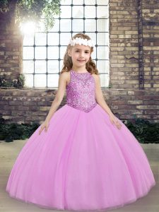 Lilac Lace Up Pageant Dress for Girls Beading Sleeveless Floor Length
