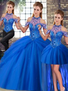 Fitting Blue Vestidos de Quinceanera Halter Top Sleeveless Brush Train Lace Up