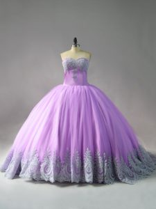 Lilac Sweetheart Lace Up Appliques Quinceanera Dress Court Train Sleeveless