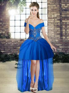 Customized Off The Shoulder Sleeveless Red Carpet Prom Dress High Low Beading Royal Blue Tulle
