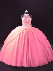 Designer Halter Top Sleeveless Lace Up Quinceanera Gowns Pink Tulle