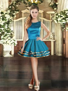 Dazzling Tulle Sleeveless Mini Length Dress for Prom and Ruffled Layers