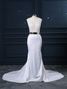 Captivating White Elastic Woven Satin Zipper Scoop Sleeveless Bridal Gown Brush Train Appliques and Sashes ribbons
