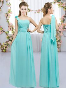 Top Selling Aqua Blue One Shoulder Neckline Hand Made Flower Dama Dress for Quinceanera Sleeveless Lace Up